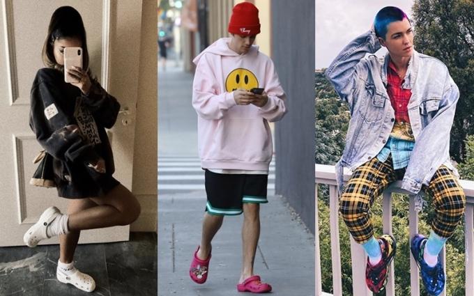 (Từ trái qua) Ca sĩ Ariana Grande, Justin Bieber, diễn viên Roby Rose mang dép Crocs trong thời dịch. Ảnh: Instagram
