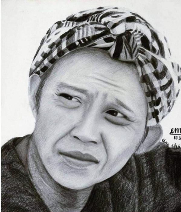 Hoài Linh dùng bức tranh do fan 9x - Tuấn Bảo - quê ở Vũng Tàu, vẽ tặng anh hồi năm 2014 đưa lên mạng kêu gọi quyên góp vì miền Trung. Ảnh: Facebook Linh Hoai Vo.
