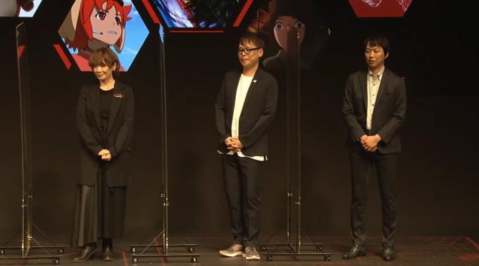 Từ trái sang: họa sĩ Mari Yamazaki, đại diện David Production Shuichiro Tanaka, đại diện Netflix Taiki Sakurai dự Netflix Anime Festival 2020. Ảnh: Netflix Japan.