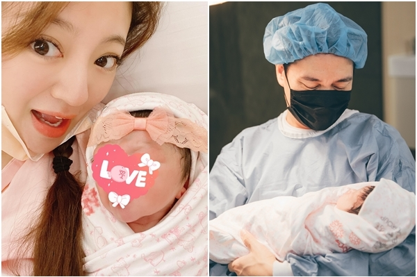 An Dĩ Hiên và chồng bế con. Diễn viên giữ kín mặt em bé.  Ảnh: Weibo An Dĩ Hiên.