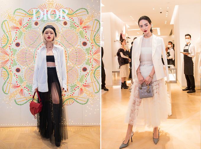 Nhiều fashionista nổi tiếng trong giới trẻ Hà Thành như Châu Bùi, Cô Em Thời Trang, Khánh Linh, stylist Hoàng Ku ... có dịp hội ngộ trong tiệc khai trương cửa hàng mới của Dior.