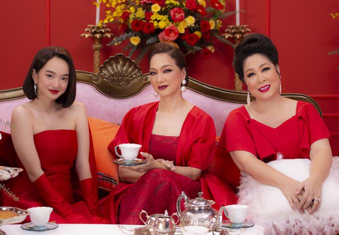 Từ phải sang: Hồng Vân, Lê Khanh, Kaity Nguyễn - ba diễn viên Gái già lắm chiêu 5. Ảnh: Mar6.