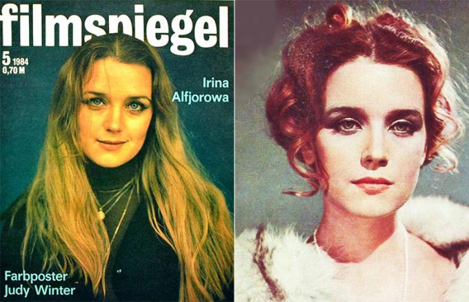 Irina Alferova trên các bìa tạp chí điện ảnh thập niên 1980. Bà tỏa sáng qua loạt phim Black Birch, Autumn Bells, For no apparent reason, Love Letters with Intent, Ba chàng ngự lâm, TASS được quyền tuyên bố...