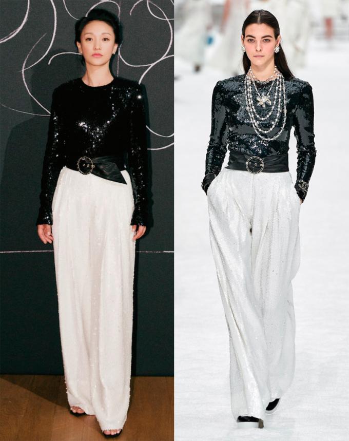 quần ống rộng và áo ánh bạc của Chanel