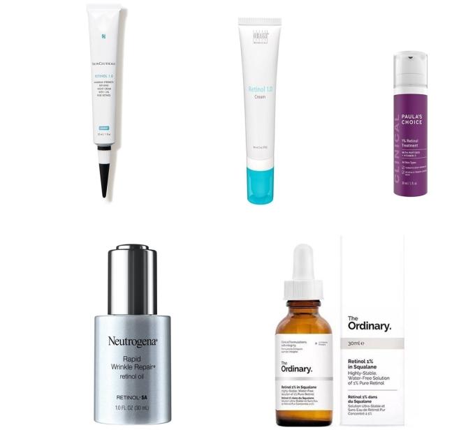 Một số thương hiệu Retinol phổ biến trên thị trường dưỡng da. Ảnh: Tổng hợp.