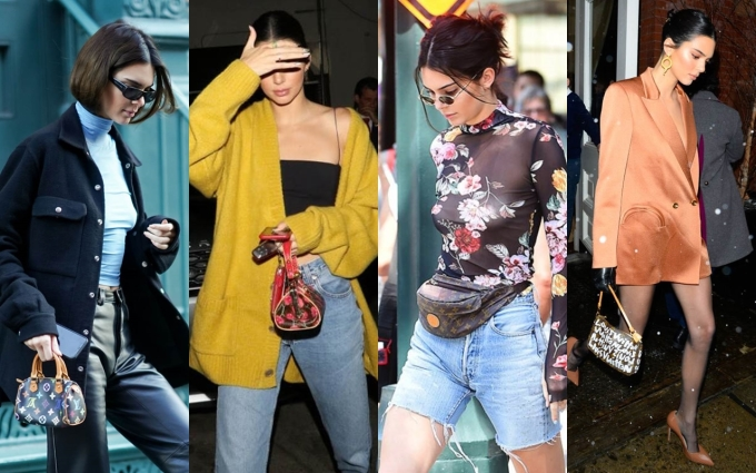 Kendall Jenner say mê các mẫu túi vintage của Louis Vuitton được sản xuất trong những năm 1990. Ảnh: Splash News, Vogue, Elle.