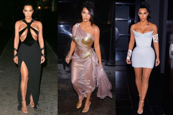 Kim Kardashian nhiều lần mặc trang phục của nhà thiết kế Pháp Thierry Mugler: đầm cut-out Xuân Hè 1998, váy xuyên thấu Thu Đông 1999, váy corset Xuân Hè 1994. Ảnh: Media Punch, Splash Images.