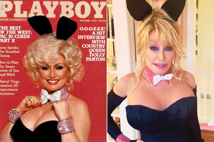 Dolly Parton trên trang bìa Playboy 1978 và hiện tại.  Ảnh: Playboy, Twitter Dolly Parton.