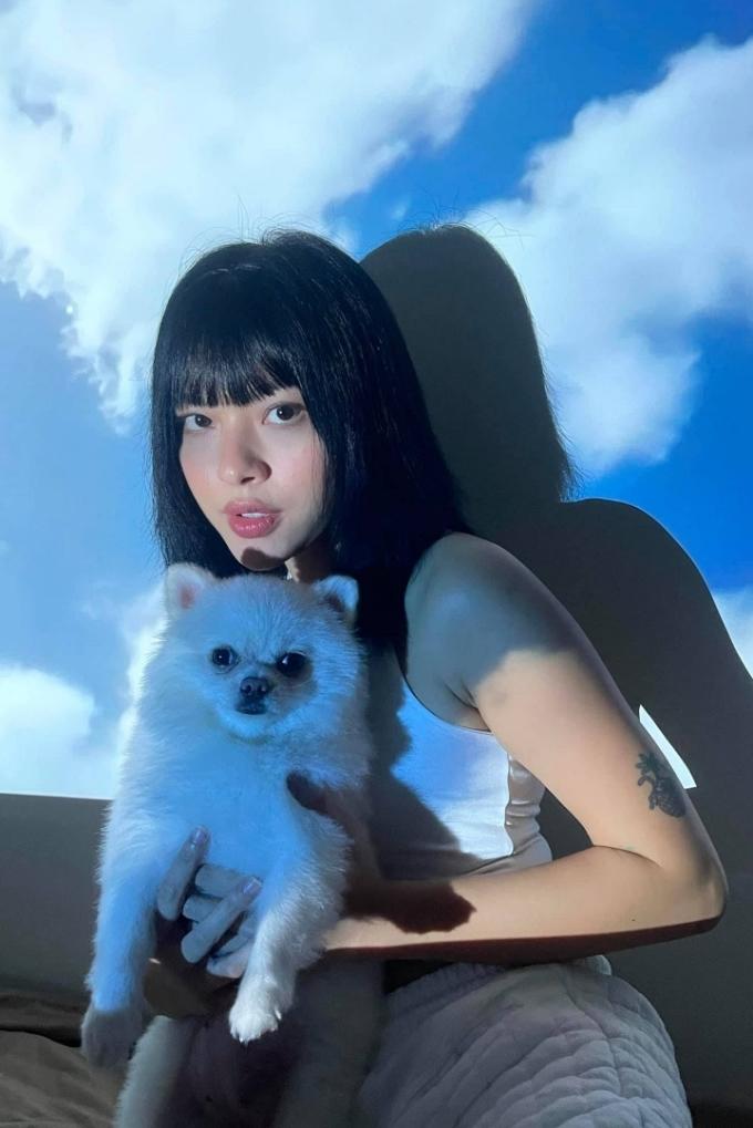 Tú Hảo sử dụng chiếc máy chiếu để tạo phông nền mây trời. Thú cưng cũng là những bạn diễn quen thuộc của các sao Việt trong những bộ ảnh tại gia.