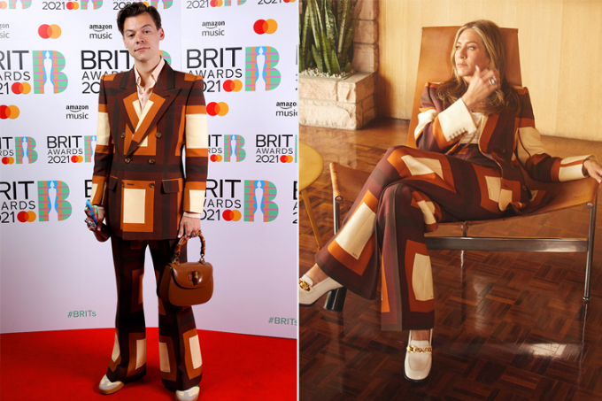 Jennifer Aniston (phải) diễn pantsuit giống Harry Styles. Ảnh: Jennifer Aniston Instagram.