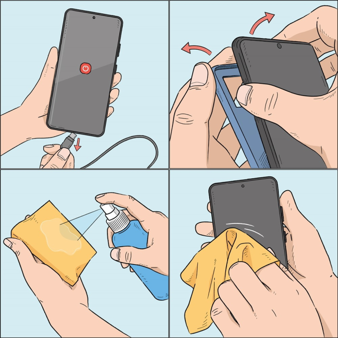 Khử trùng điện thoại bằng khăn mềm là cách đơn giản để ngăn ngừa mụn do vi khuẩn.