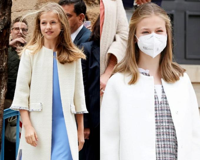 Các mẫu áo khoác cổ tròn, không nút với tông trắng trơn được cô ưa chuộng. Leonor thường kết hợp kiểu áo cổ điển này với một chiếc đầm suông bên trong.