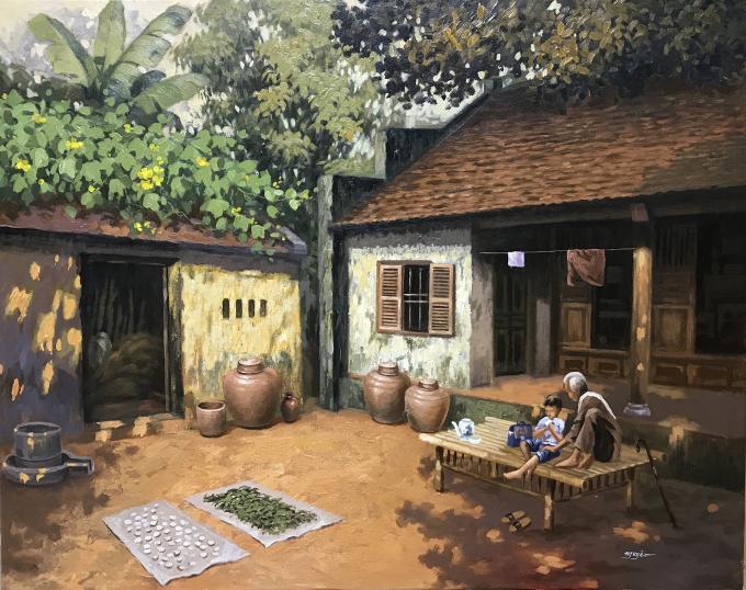 Trần Nguyên nói khi vẽ bức Khoảng sân trước nhà, cảm xúc của anh trào dâng vì nhớ tới hình ảnh chiếc chõng tre, nơi ông nội hay ngồi kể chuyện, ru cháu ngủ.