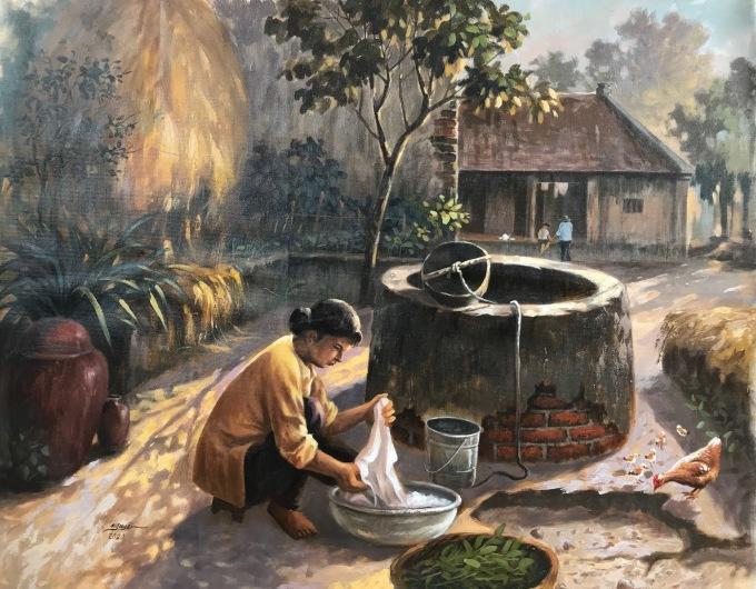 Tác phẩm Sớm mai của mẹ được vẽ bằng chất liệu sơn dầu.